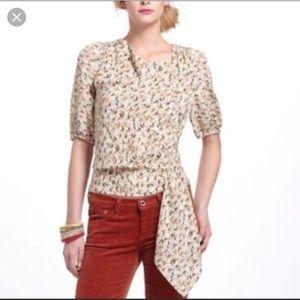 T204 Anthro Leifnote 100% silk bird blouse